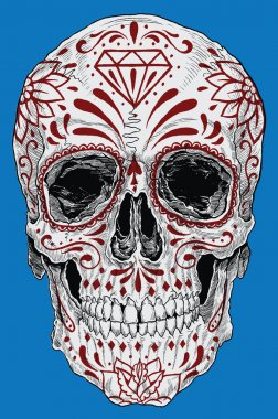 Realistic Cross Hatched Day of the Dead Sugar Skull