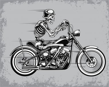 Skeleton Riding Motorcycle Vector Illustration