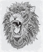 Fotografie Hand Drawn Abstract Lion Vector Illustration