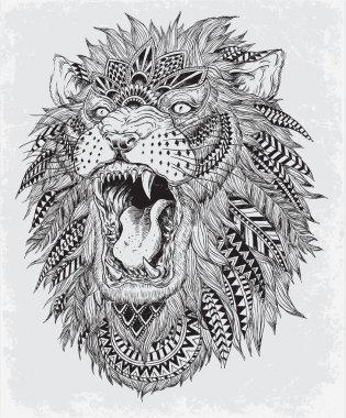 Hand Drawn Abstract Lion Vector Illustration Hand Drawn Abstract Lion Vector Illustration stock vector