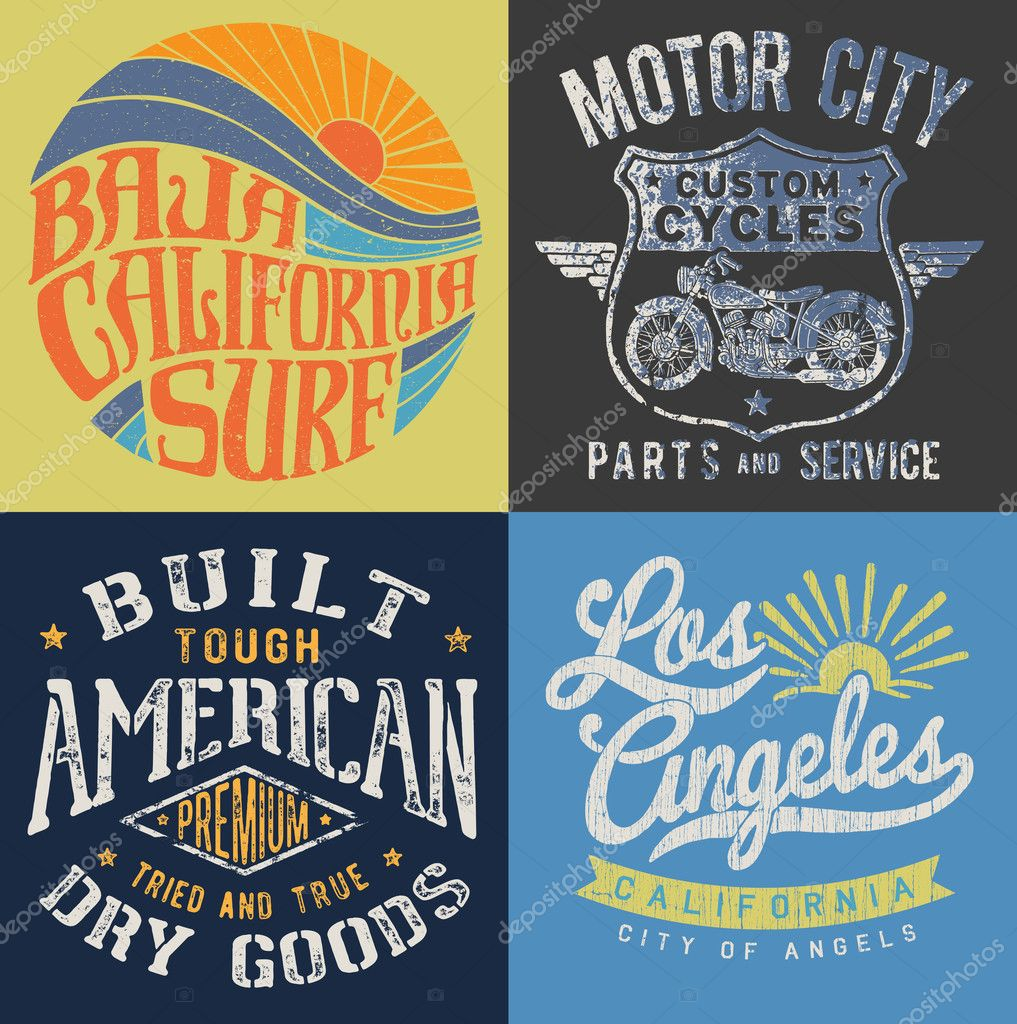 Vintage T Shirt Graphic Set Vector By Mjh1nkle