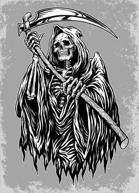 Hand Inked Grim Reaper Illustration Hand Inked Grim Reaper Illustration stock vector