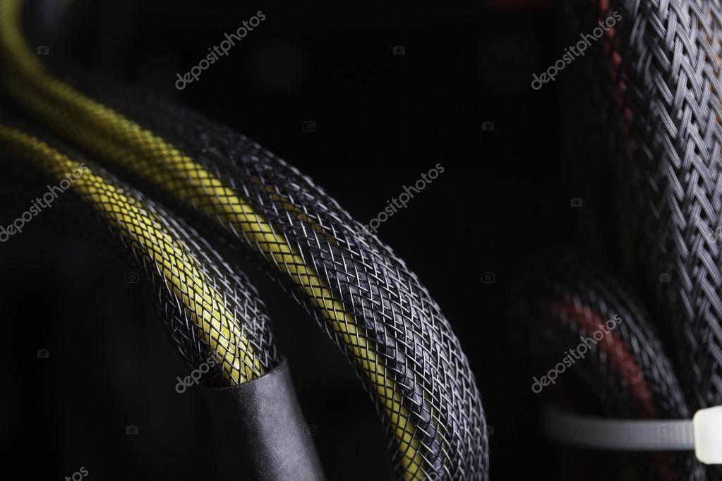 Detail der modernen Computer-Kabel-Verbindungen — Stockfoto ...