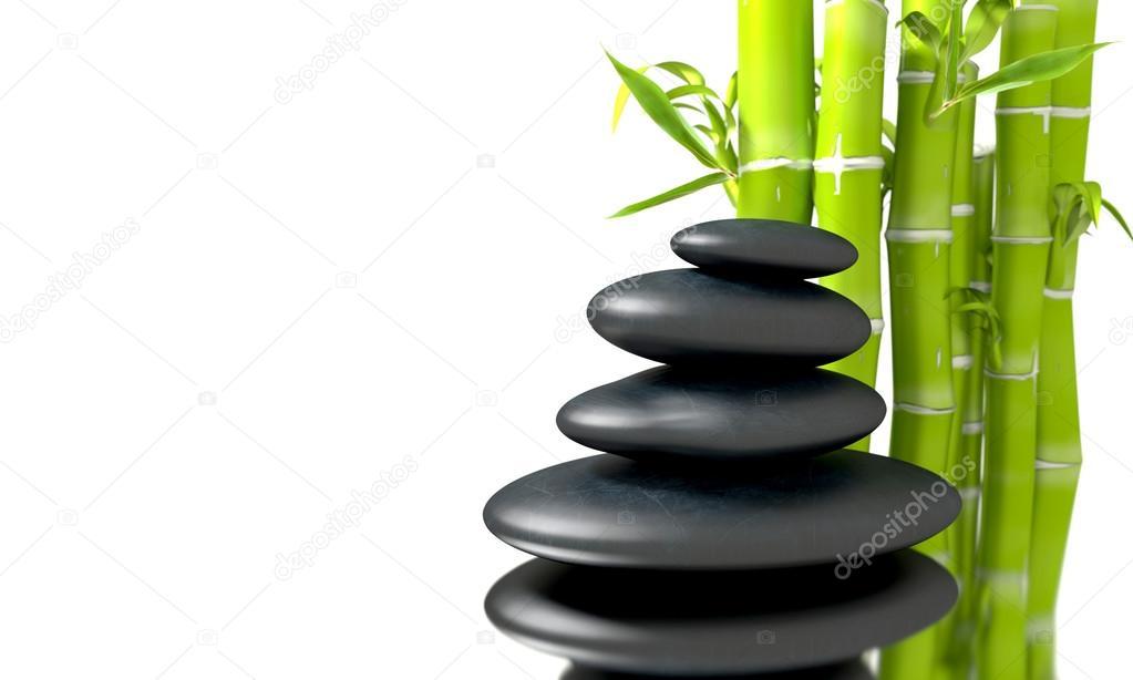 Piedras de basalto de zen spa concepto con ca as de bamb for Fotos piedras zen