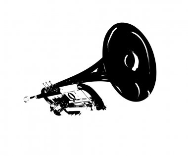 Black and white Trumpet Illustration