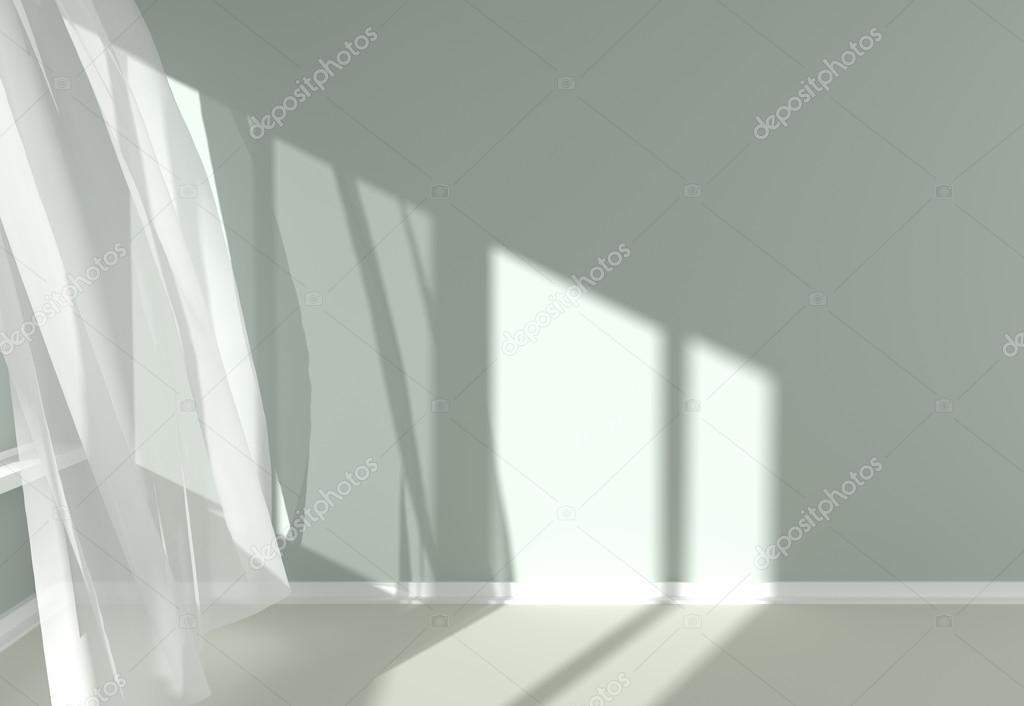interior habitacin moderna con cortinas blancas y la luz del sol