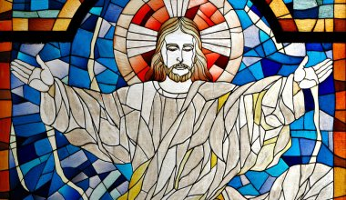 Details of a Jesus Christ Church Stained Glass Pane stock vector
