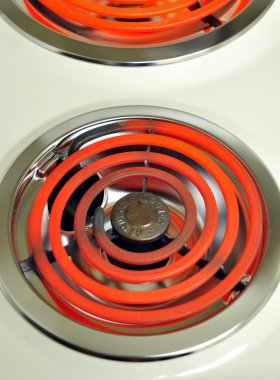 Red hot electric stove.