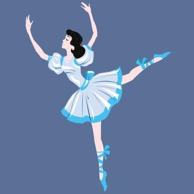 Brunette dancer in a blue dress