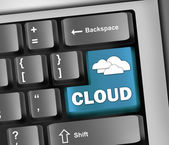 Keyboard Illustration Cloud Computing