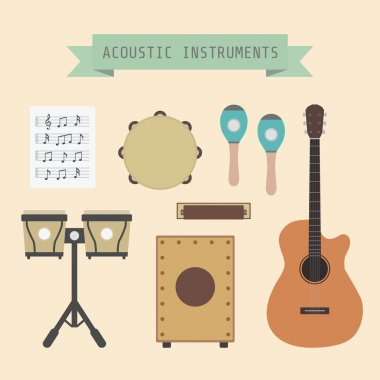 Set of unplug musical instrument and sign, flat style clip art vector