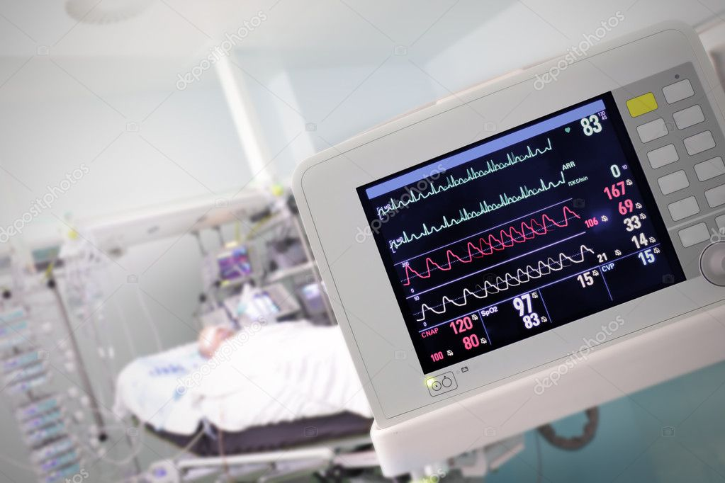 Medical Monitor against the hospital room