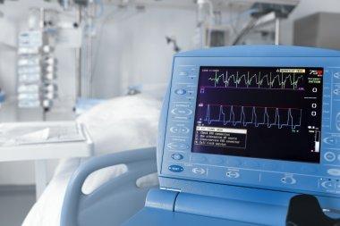 ICU room and cardiovascular monitor