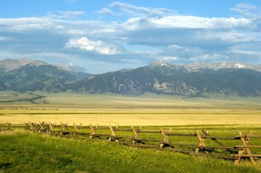 Sunny ranch in Montana state