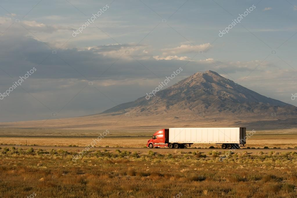 Delivery truck moving