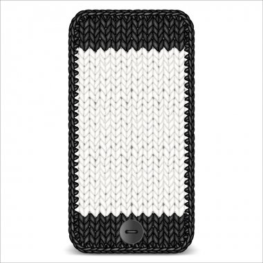 Knitted mobile phone. Vector illustration