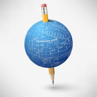 Architectural sphere with the axis in the form of a pencil