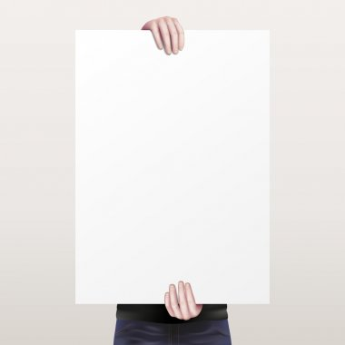 The man holding a white empty sheet of paper
