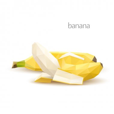 Polygonal fruit - banana. Vector illustration