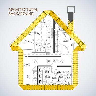 Architectural background with a measuring tape