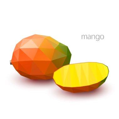 Polygonal fruit - mango. Vector illustration