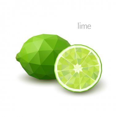 Polygonal fruit - lime. Vector illustration