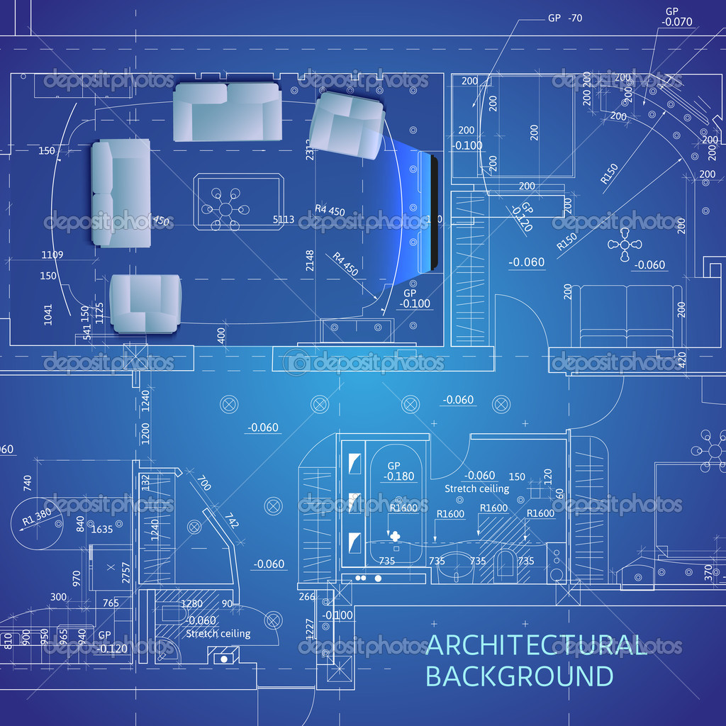 Blueprint con muebles ilustracin vectorial archivo imgenes blueprint con muebles ilustracin vectorial archivo imgenes vectoriales malvernweather Choice Image