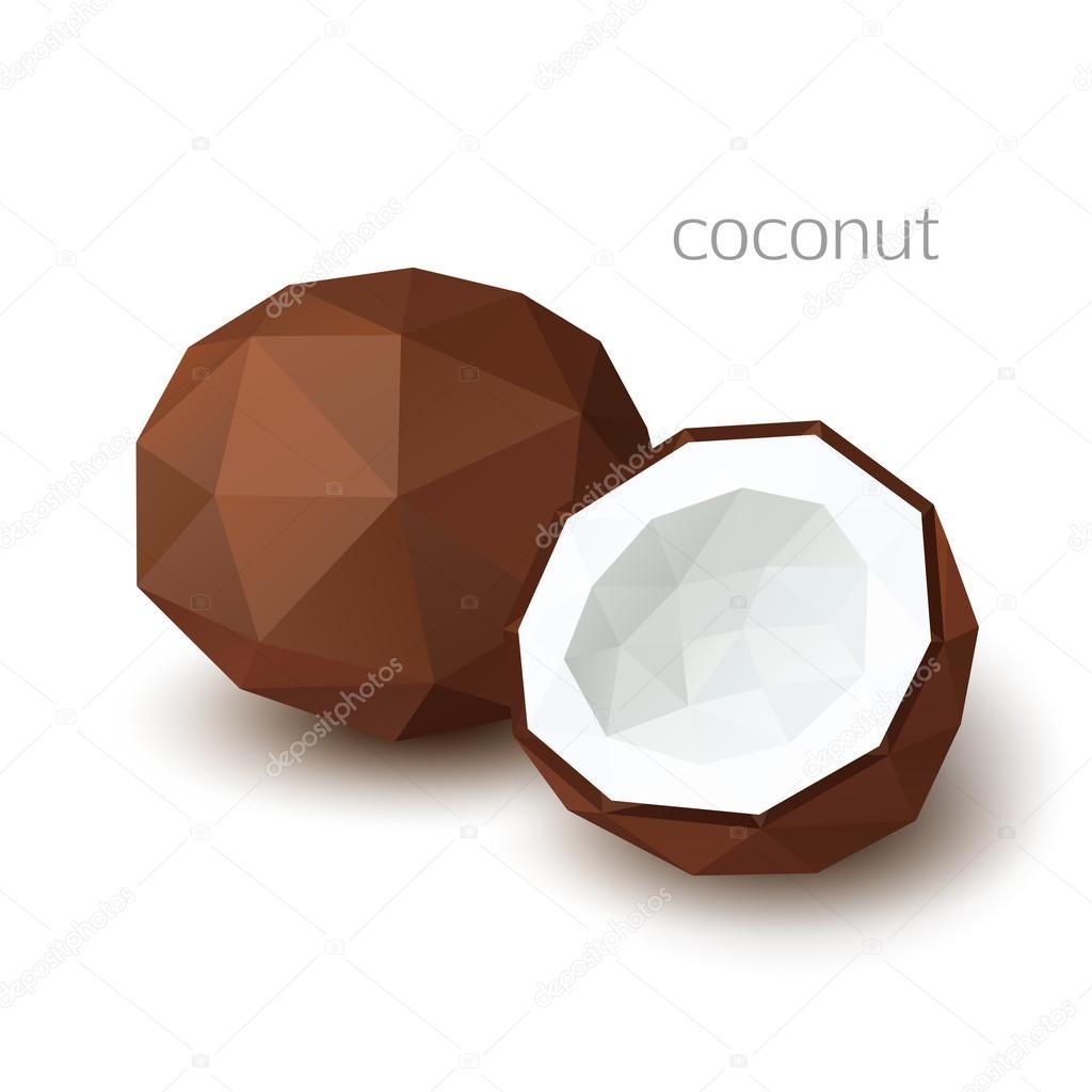 Polygonal fruit - coconut. Vector illustration