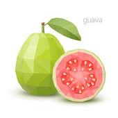 polygonální ovoce - guava. vektorové ilustrace