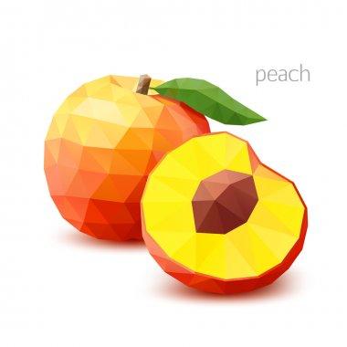 Polygonal fruit - peach. Vector illustration