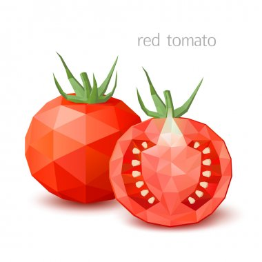 Polygonal vegetables - a red tomato. Vector illustration