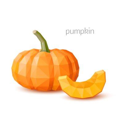 Polygonal vegetables - pumpkin. Vector illustration