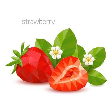 Polygonal berry - strawberry. Vector illustration
