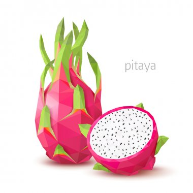 Polygonal fruit - pitaya. Vector illustration