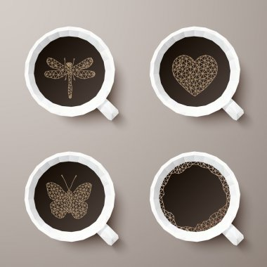 Polygonal cups of coffee with different drawings. Vector illustr