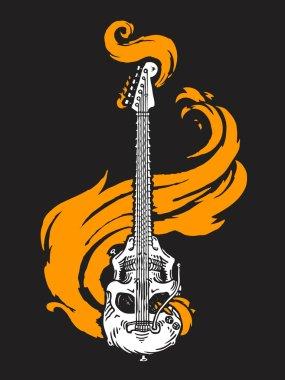 Burning skull shaped electric guitar. Vector illustration.