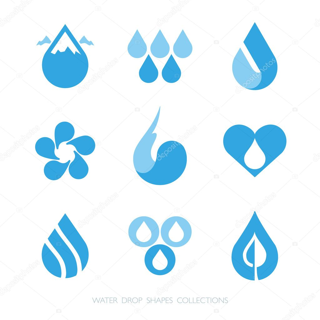Water drop shapes collection. Vector icon set at 1 and 2 colors.