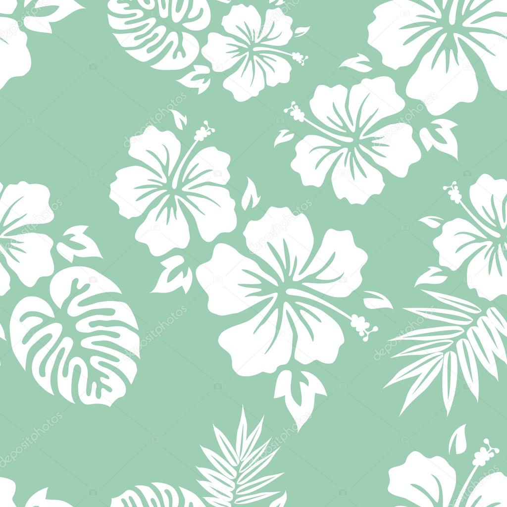 2bda68ab8515 Hawaiian Aloha Shirt Background · Hibiscus and hula · Typography and Palm  Leaves Design · Hibiscus flower seamless pattern