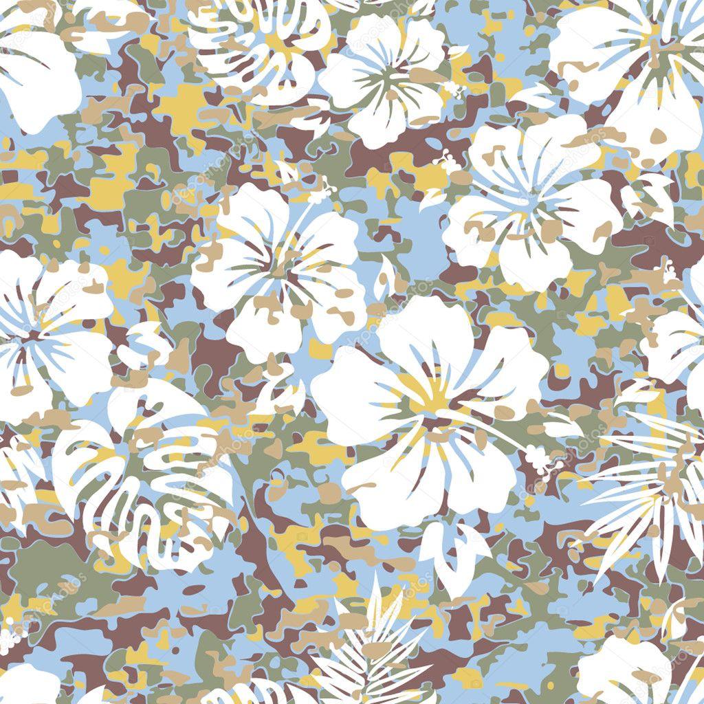 Aloha patrón de camuflaje de camisa hawaiana — Vector de stock ...