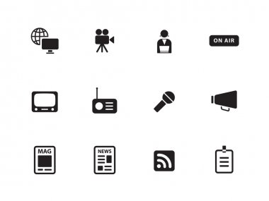 Media icons on white background.