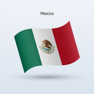 Mexico flag waving form. Vector illustration.