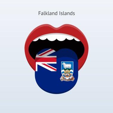 Falkland Islands language. Abstract human tongue.