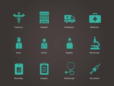 Hospital icons.