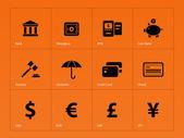 bankovní ikony na oranžovém pozadí