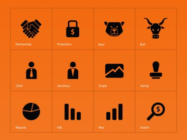 Finance icons on orange background.