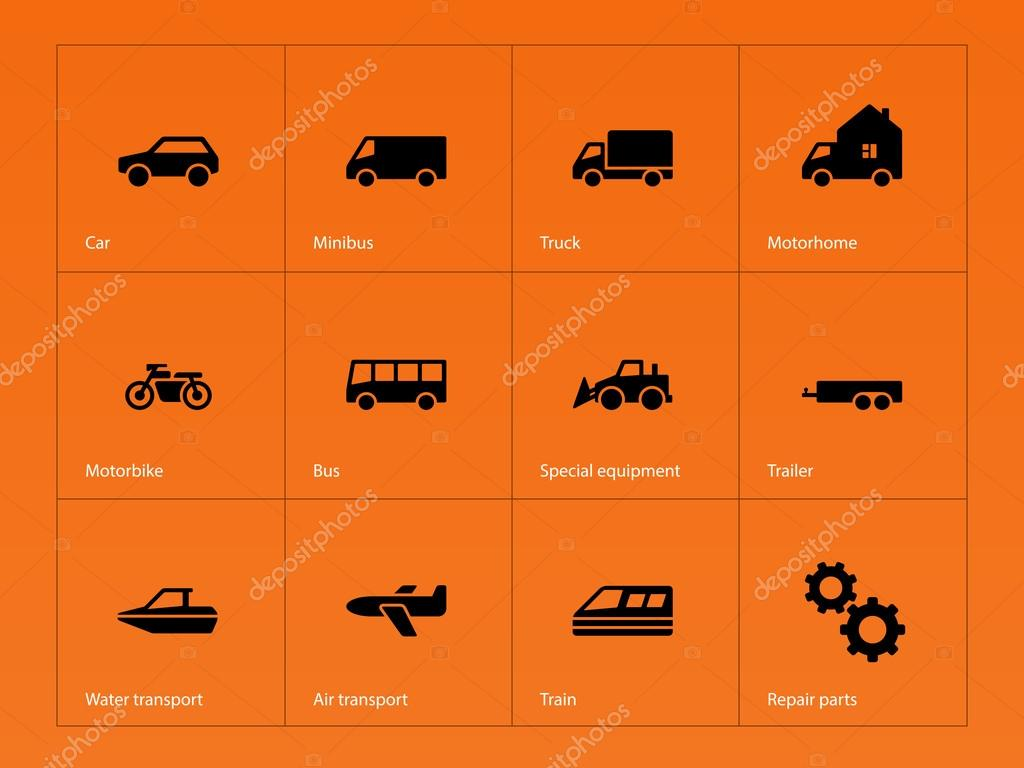 Cars and Transport icons on orange background.