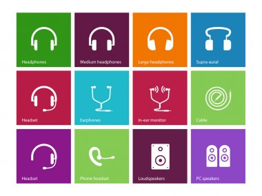 Headphones and speakers icons on color background. Vector illustration. stock vector