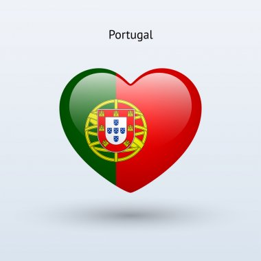 Love Portugal symbol. Heart flag icon.