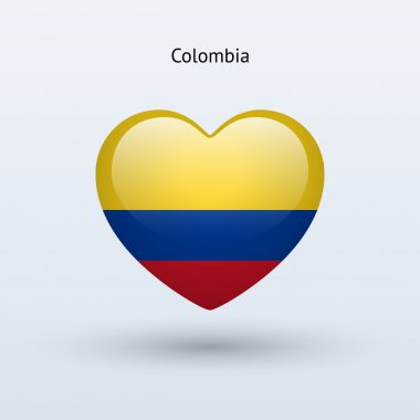 Love Colombia symbol. Heart flag icon.
