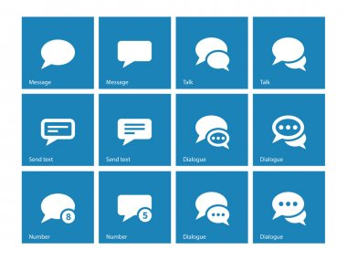 Message bubble icons on blue background. Vector illustration. stock vector